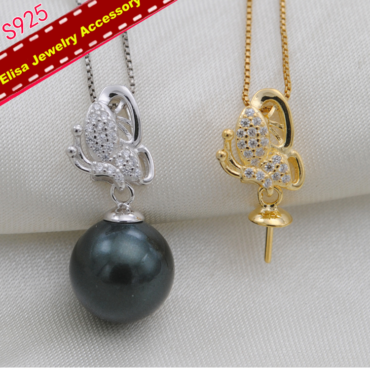 S925 Sterling Silver Butterfly Design Pearl Pendant Holder ...