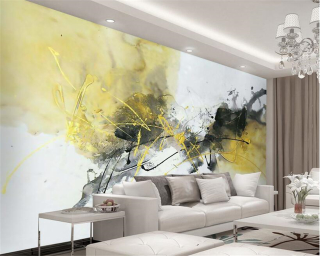 Beibehang customize Abstract ink painting bedroom room bedside lobby ...