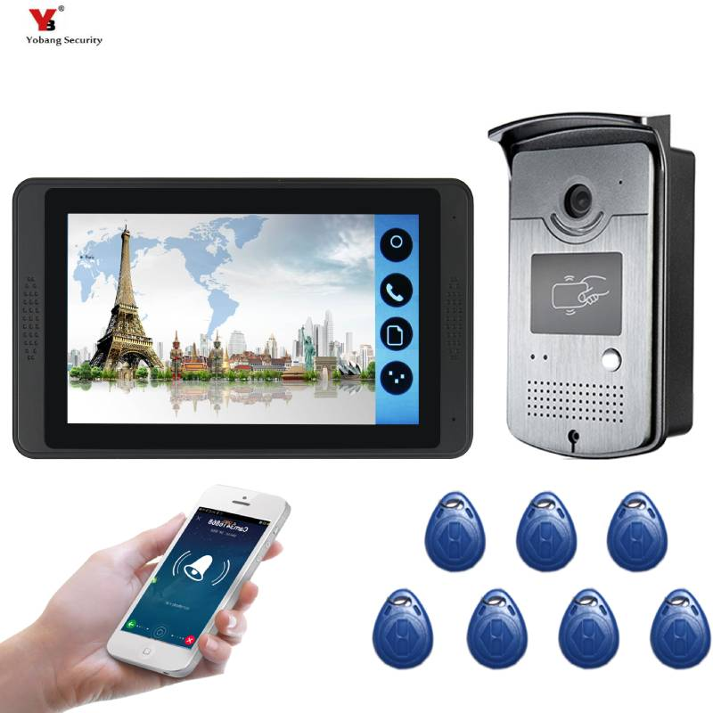 Yobang Security APP Control RFID Access Video Intercom 7 Inch Monitor Wifi Wireless Video Intercom Doorbell Door Phone System