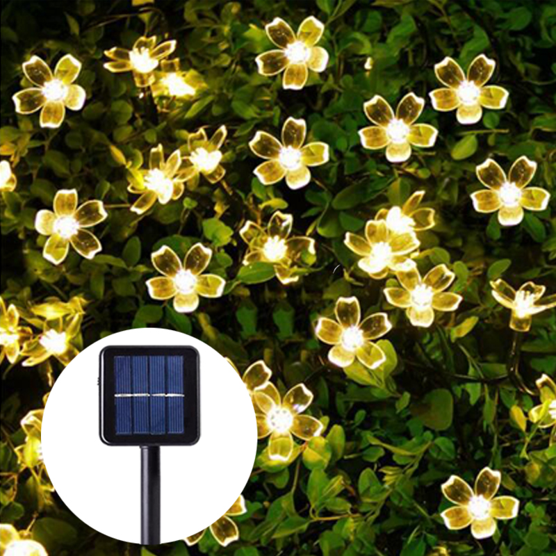 Sunlight LED Solar Light Peach Flower Solar Lamp Power LED String Fairy Lights Solar Garlands Garden Christmas Decor For Outdoor