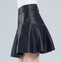 Woman Spring Plus Size A line Pu Skirts Female Fall Oversized Solid Pu Slim Skirt Lady Plus Size High Slim Pu Skirt
