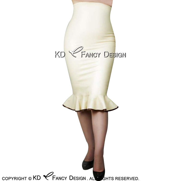 White With Brown Trims On Bottom Sexy Latex Skirts Knee Length With Ruffles Zipper At Back Rubber Skirt Bottoms DQ-0031