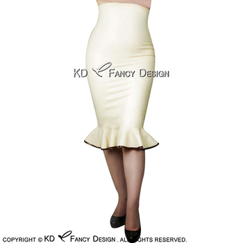 White With Brown Trims On Bottom Sexy Latex Skirts Knee Length With Ruffles Zipper At Back Rubber Skirt Bottoms DQ-0031 handmade sleeveless latex one piece dress exotic a line rubber skirt with front zipper