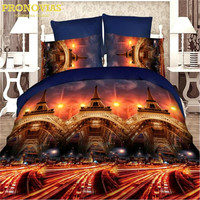 Bravo 3d Linen Eiffel Tower Reactive Print Queen Size Bedding Set Of Duvet Cover Bed Sheet