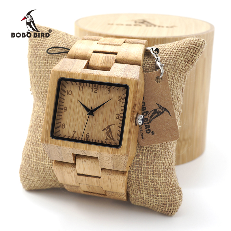 BOBO BIRD Wooden Bamboo Mens Wrist WatchTop Brand Luxury Quartz Watch with Full wood Band custom logo in gift box saat erkek bobo bird o01 o02men s quartz watch top luxury brand bamboo wood dress wristwatch with classic folding clasp in wood gift box