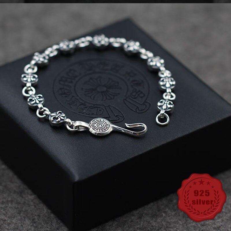 S925 bracelet en argent sterling personnalité de la mode rétro gothique punk voilier ancre balle forme bijoux 2019 nouvelle offre spéciale