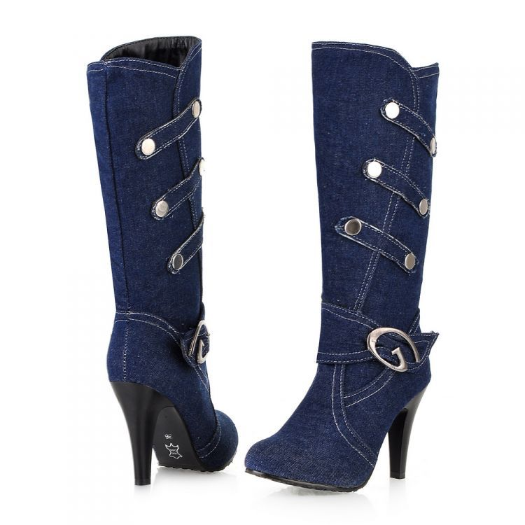 Lastest Denim Jean Open Toe Mid Calf Boot Flat Dress Sandal Womens Shoes U2013 These Actually Exist ...