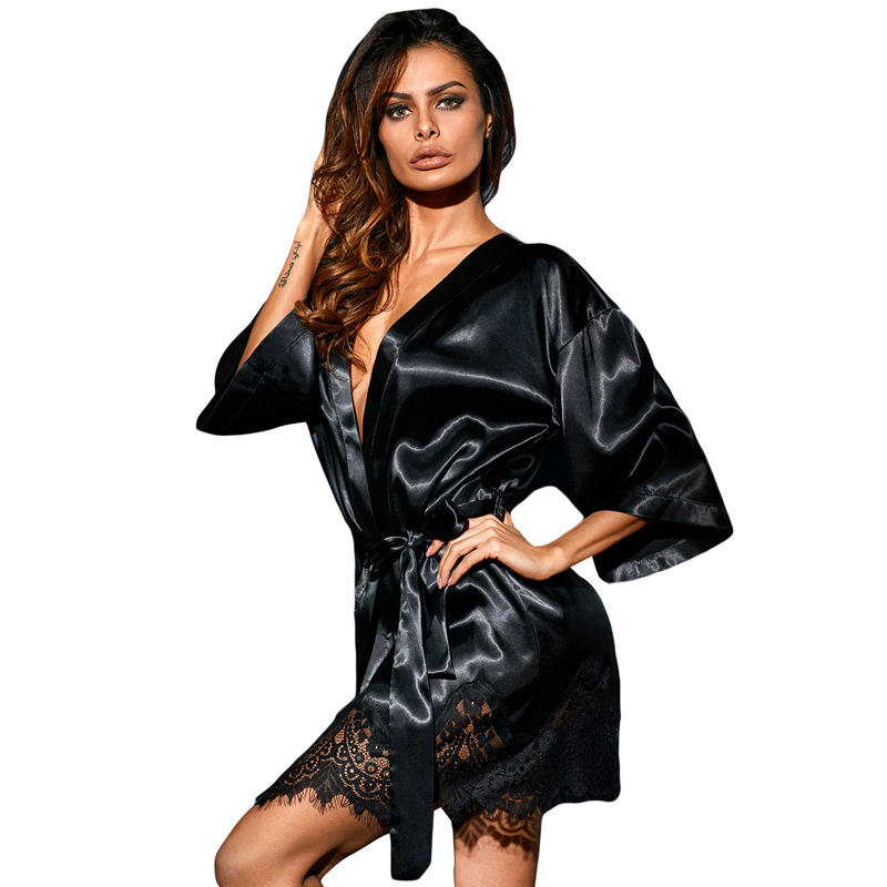 New Lady Sexy Nightwear deep V black lace-trimmed Robes Belt Womens Sleep Lounge Female Bathrobes Casual loose Home Clothes
