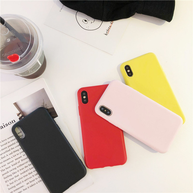 Simple Color Silicone Cute Phone Case For iPhone