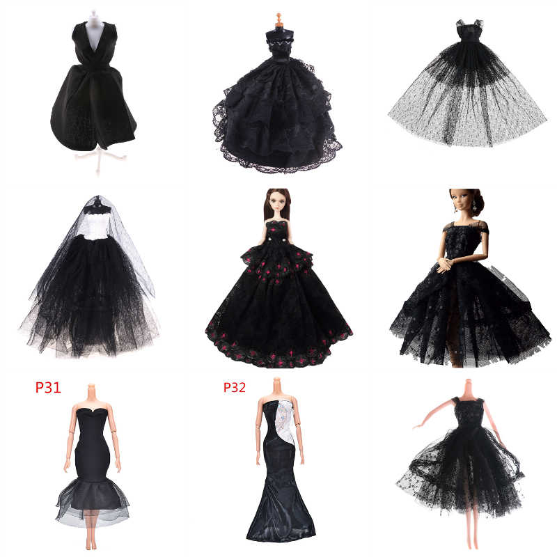 Elegant Lady Black Little Dress Doll Clothes Handmade Fashion Party Dress For Doll Elegant Clothes For Doll Accessories