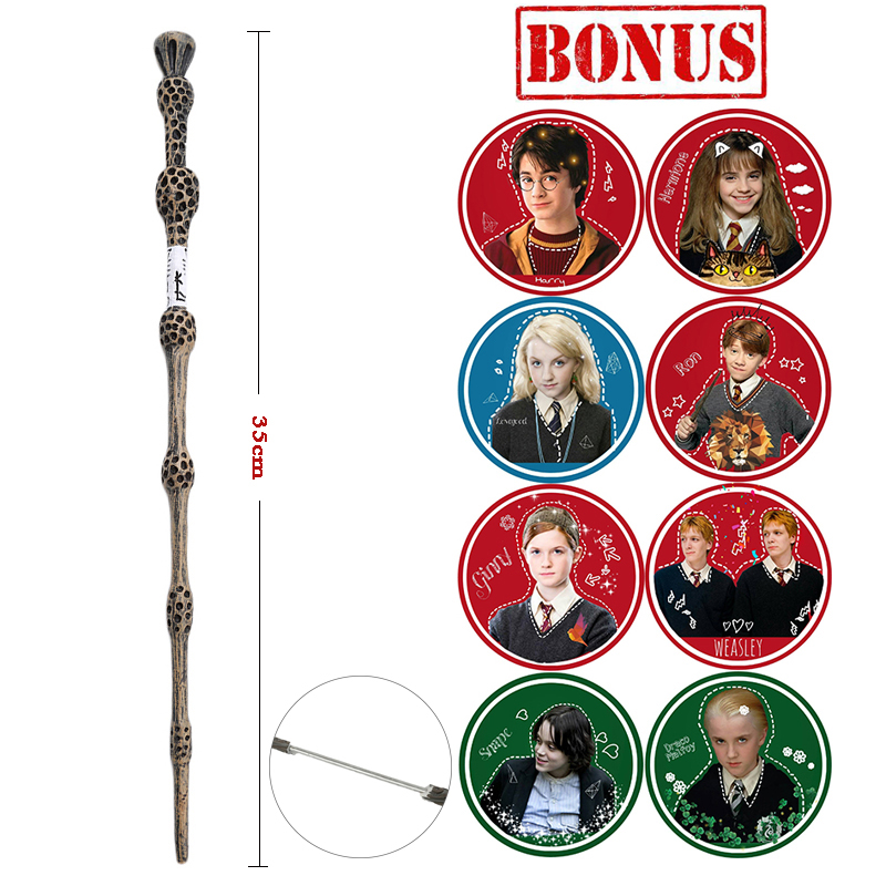 Harry Serials Metal/Iron Core Dumbledore Old Wand/ Hermione Luna Lovegood Magic Wand With Extra Waterproof Stickers