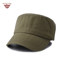 New Arrival Pure Flat Top Hat For Women Men Casual Adjustable Military Cat Fashion Solid Color