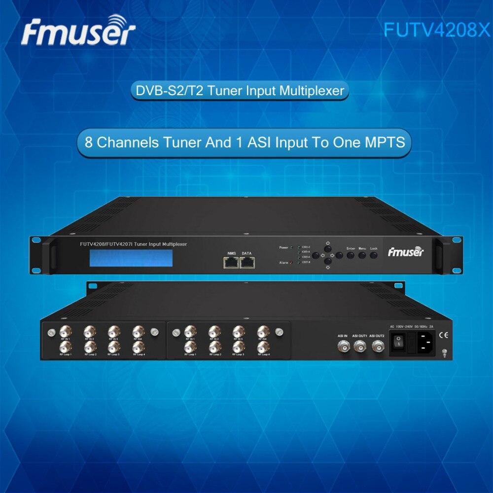 FUTV4208 8 Tuner IRD(8 DVB-S2/T2 RF Input,1 ASI In,2 ASI 1 IP Output)Multiplexer free shipping fmuser futv4031a quad fta ird satellite receiver 4 dvb s rf input asi output av out with demodulating