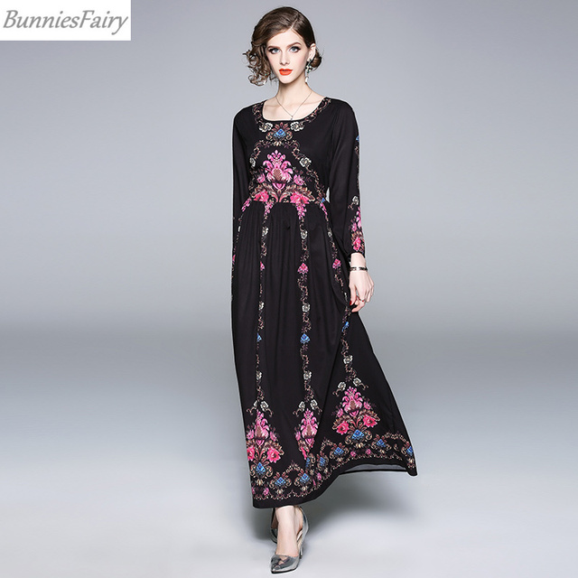 ad71520695 BunniesFairy 2018 Autumn New Women Bohemian Boho Style Vintage Retro Floral Print  Long Sleeve Black Maxi Dress O-Neck