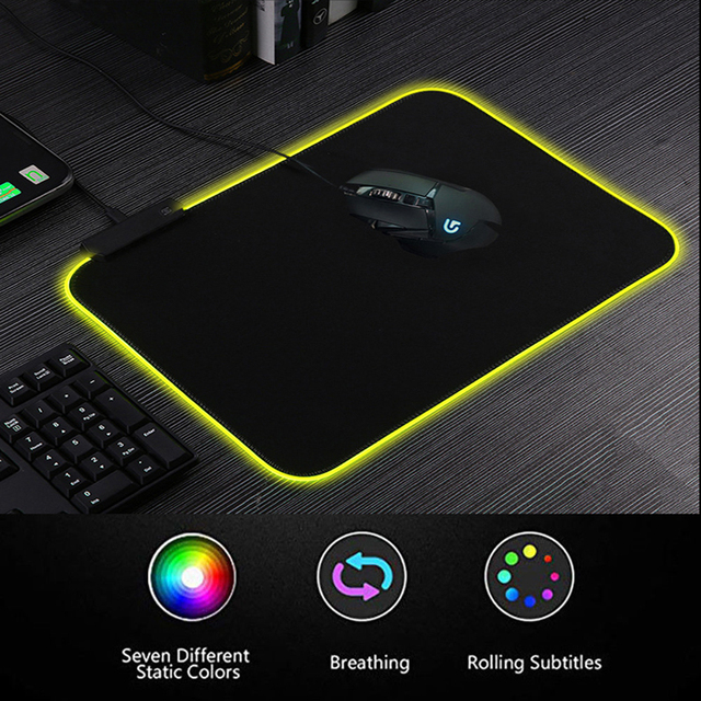 RGB Gaming Mouse Pad Rubber Mat RGB Colorful LED Lighting Gaming Mouse Pad For PC Computer 3D24 1
