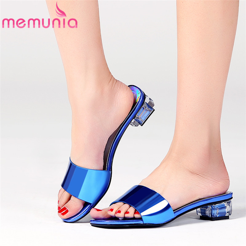 MEMUNIA 2019 top quality genuine leather women sandals simple slip on square heels summer shoes comfortable