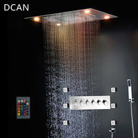 Bathroom Shower Faucets Ceiling Waterfall Mist Shower Head Big Rain LED Shower Set High Flow Thermostatic Bath Shower