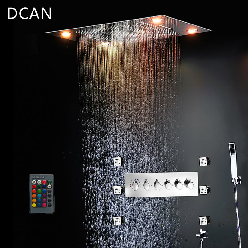 Grifos de ducha de baño, ducha de niebla de cascada de techo, ducha LED de lluvia grande, ducha de baño termostática de alto flujo
