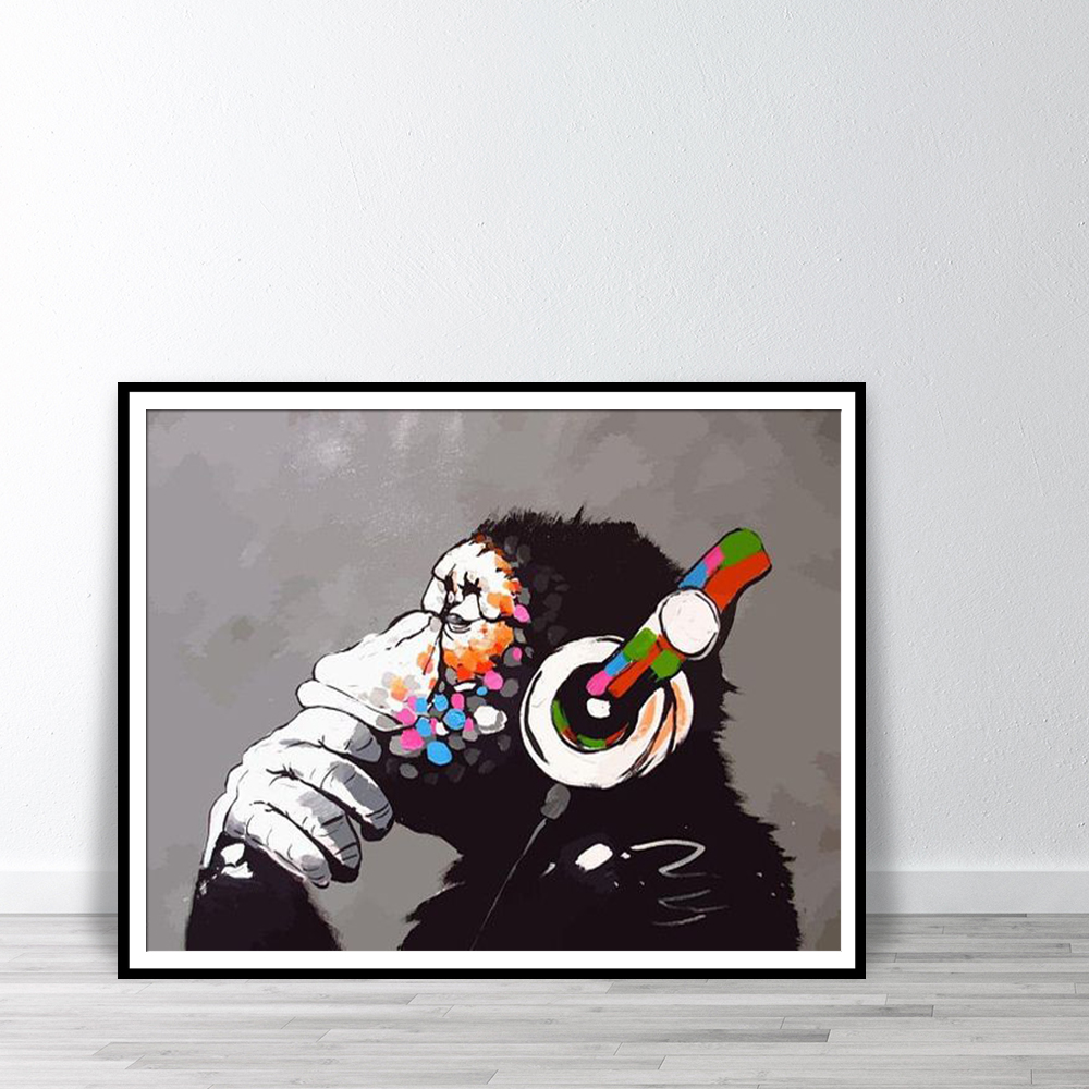 BANKSY MONKEY WITH HEADPHONES GRAFFITI STREET Art Silk Poster 12x18 24x36