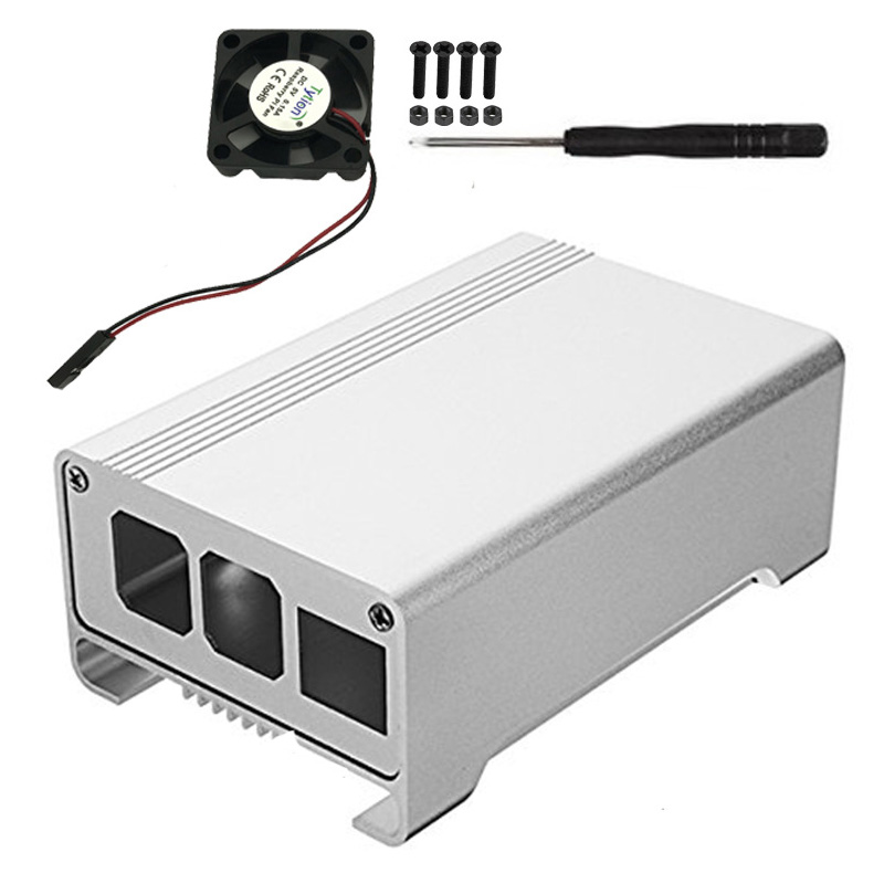 Raspberry Pi 3Generation Metal Shell Raspberry Pi 3 Aluminum Alloy Box Thermal Protection Shell With Coolling Fan For RPI 3/3B+