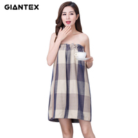 GIANTEX Plaid Women Cotton Bath   Towel   Bath Robe Bathrobe Body Spa Bath Wrap   Towel   Super Absorbent Bath Gown U1483