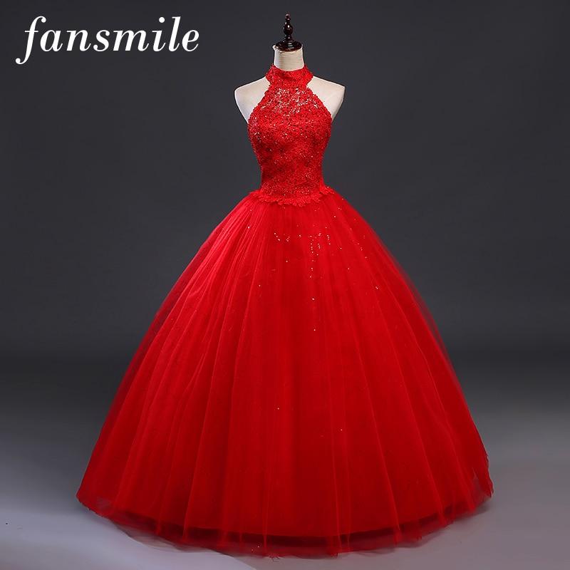 Fansmile Red Halter Vintage Lace Up Wedding Dress Vestidos De Novia 2019 Plus Size Bridal Gowns Under $50 Free Shipping FSM-277F