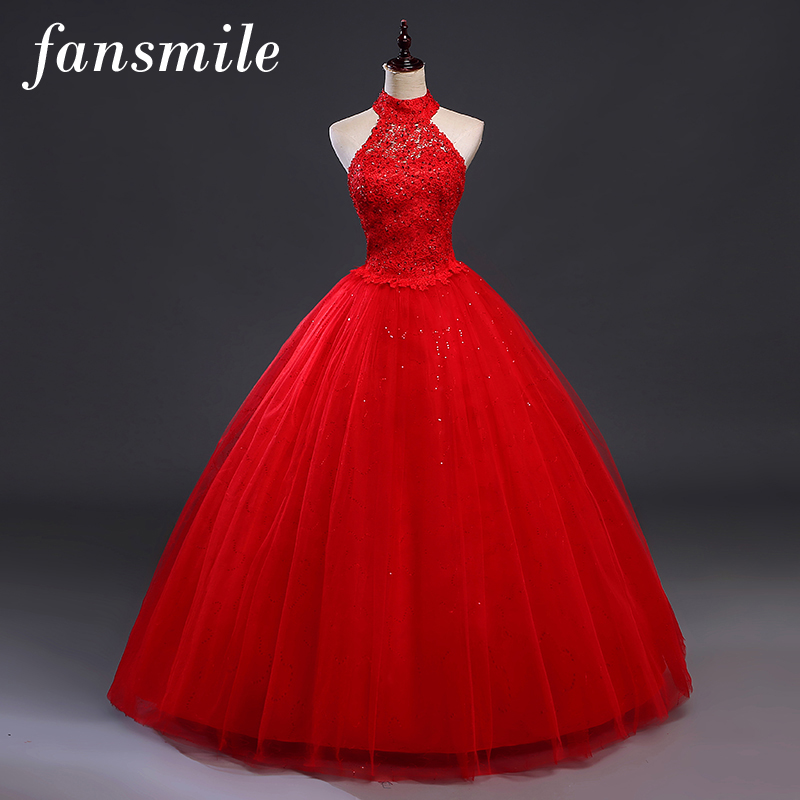 Fansmile Red Halter Vintage Lace Up Wedding Dress Vestidos De Novia 2020 Plus Size Bridal Gowns Under $50 Free Shipping FSM-277F