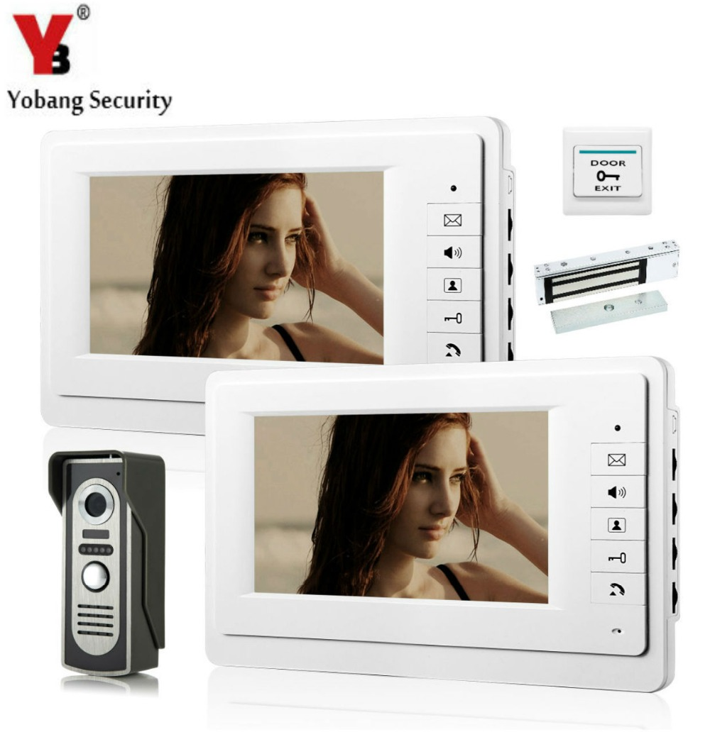 YobangSecurity 7 Inch Wired Video Door Entry System Home Security Camera Video Door Intercoms 1-camera 2-monitor With Door Lock