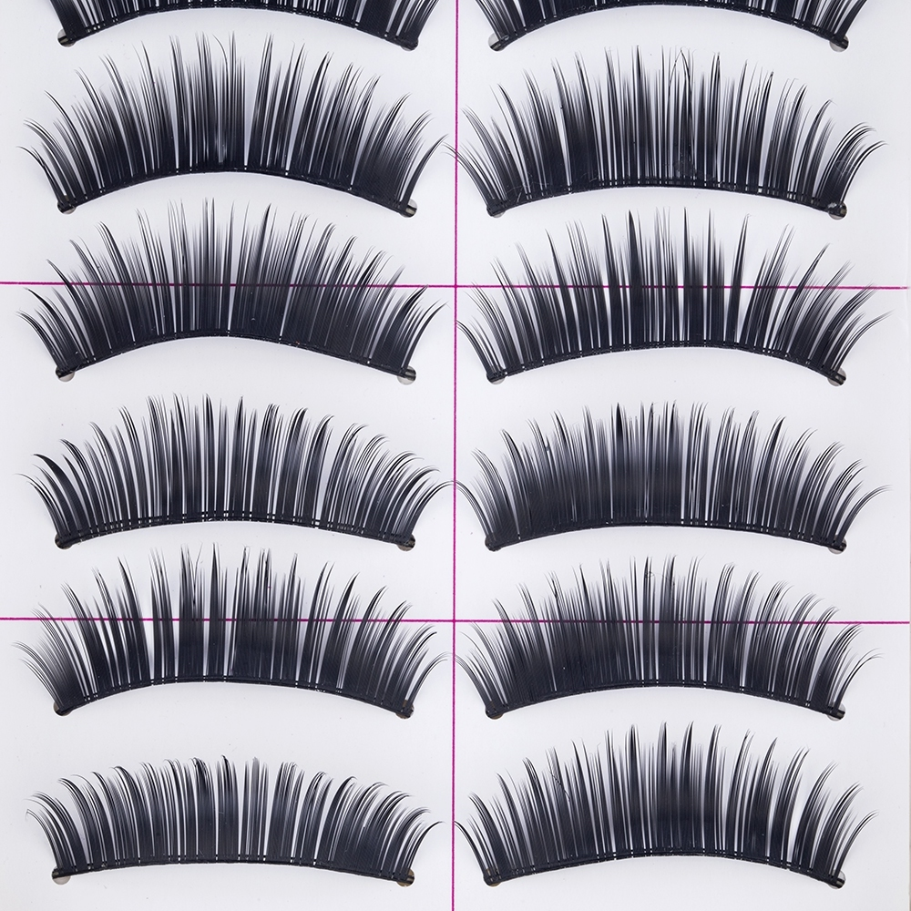 TOMTOSH 10 pairs/Handmade Black Voluminous False Eyelashes Makeup Very Thick Long Fake Eye Lashes Extention Tools