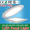 Ultra Delgado Panel Llevado Downlight 3 w 4 w 6 w 9 w 12 w 15 w 18 w Redondo/Cuadrado LED Ahuecó la Luz AC85-265V LLEVÓ la Luz Del Panel SMD2835