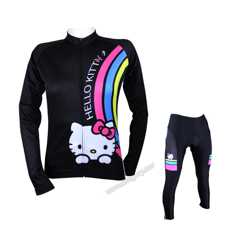 High Quality 100% Polyester kitty bike riding suits Long Sleeve Large Size hello kitty bicycle suit For Girls