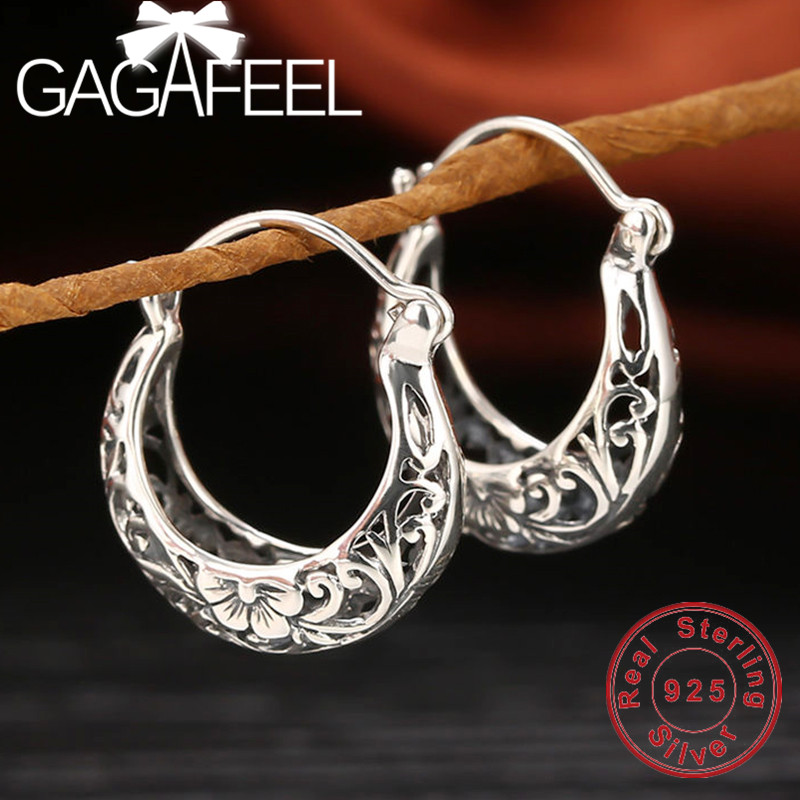 GAGAFEEL 100% Real Pure 925 Sterling Silver Female Fashion Jewelry Hollow Flower Retro Earrings for Women Lover Gifts Drop ShipGAGAFEEL 100% Real Pure 925 Sterling Silver Female Fashion Jewelry Hollow Flower Retro Earrings for Women Lover Gifts Drop Ship