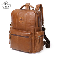Genuine Leather Backpack For Man Real Cowhide Large Male Backpack Double Zipper Travel Rucksack Unisex Fashion Bag ZZNICK