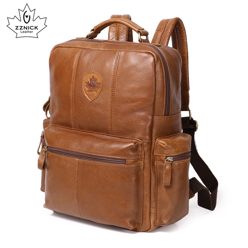 Genuine Leather Backpack For Man Real Cowhide Large Male Backpack Double Zipper Travel Rucksack Unisex Fashion Bag ZZNICK korean style fashion student soft genuine leather zipper backpack beach travel cowhide solid color double shoulder bag for gifts