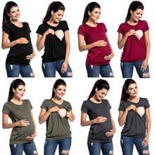 623d11746bb (Ship from US) Women Maternity Pregnancy Folding Nursing Baby Breastfeeding  T-shirt Tops haut grossesse summer korean fashion woman clothing