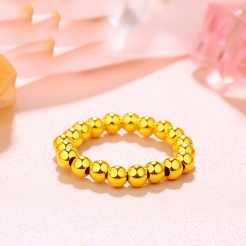 New Arrival 24K Yellow Gold Ring Women Smooth Beads Elastic Ring 1