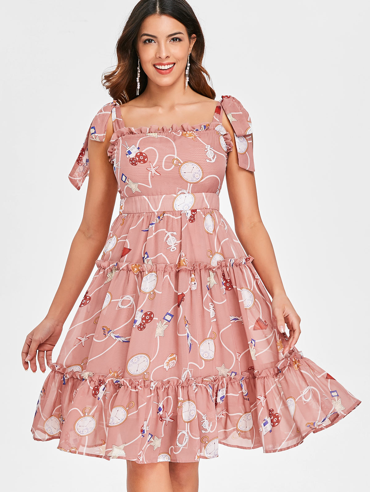Kenancy Print Tie Up Ruffle Midi Dress Fashion Retro Women