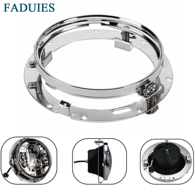 FADUIES 7 LED Headlight Mounting Ring Bracket For Harley 94-13 Street Glide Road King Electra Heritage Softail Dyna Switchback 7 inch led headlight motorbike suit 7headlight monting ring fog lights for harley davidson electra glide road king street glide