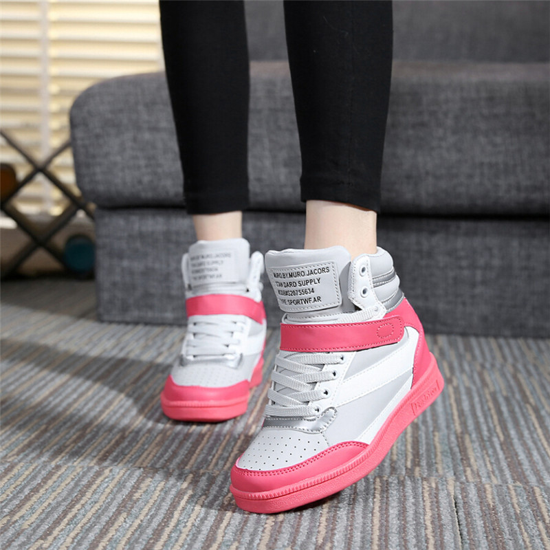 bd7eb10883525e Akexiya 2017 Spring Autumn Ankle Boots Heels Shoes Women Casual Shoes Height  Increased Wedges Shoes High Top Mixed Color-in Women s Flats from Shoes on  ...