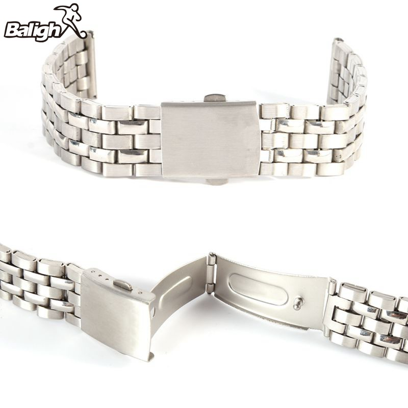 18 20 22mm Stainless Steel Metal Strap Silver Watch Band Unisex Bracelet Watch Band Double Fold Deployment Clasp Watch Buckle