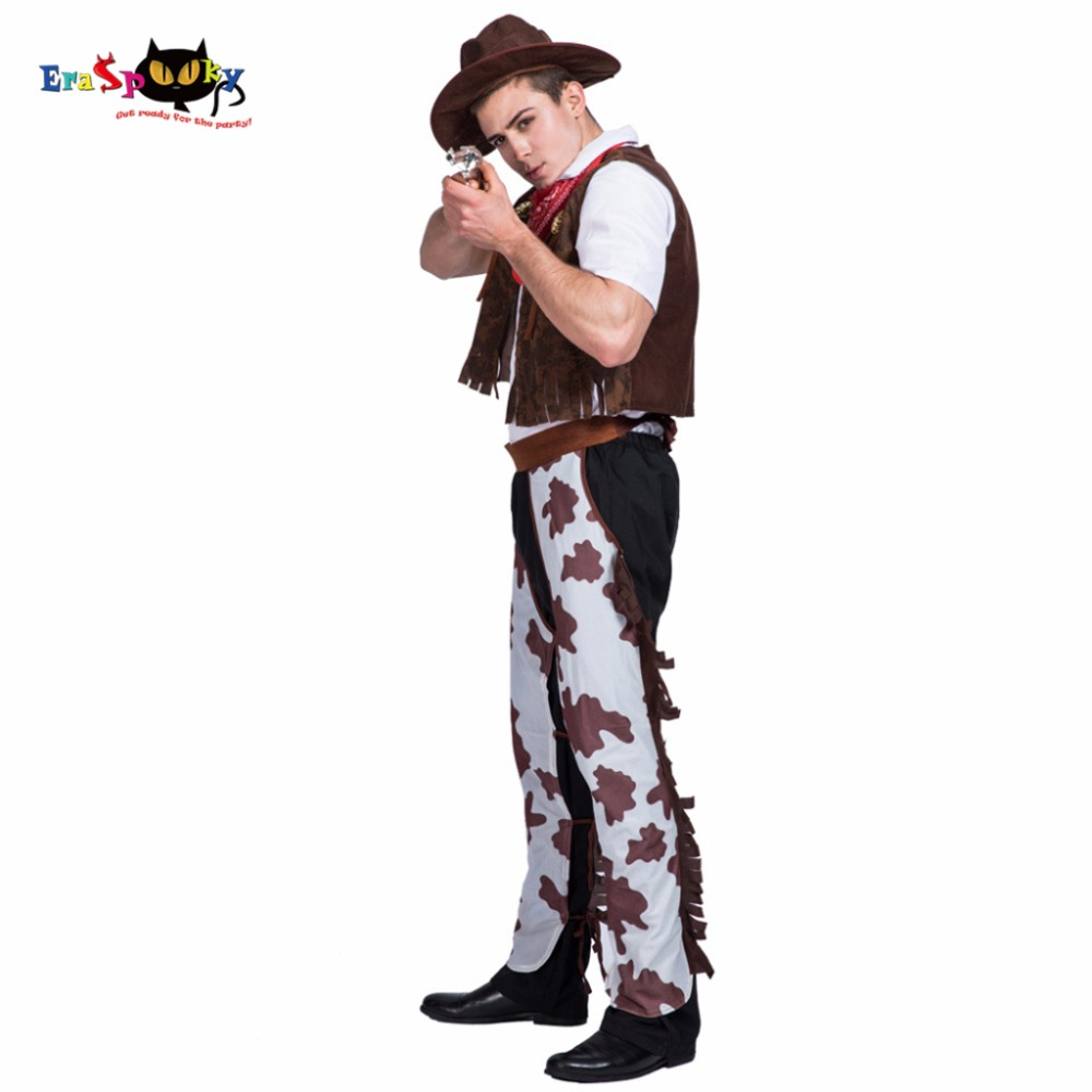 Men Western Cowboy Costume Stage Performance Vest Pants Carnival Party Adult Male Cosplay Outfits Clothing Halloween Costumes