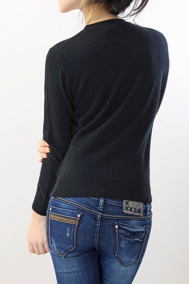 100 Cashmere Sweater Women O Neck Black Cardigan Natural Fabric ...