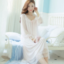 Summer Dress White Modal Nightgown Vintage Sleepwear Long Sexy Nightgown SuperSoft Lace Nightdress Silk Sexy Sleepwear For Women