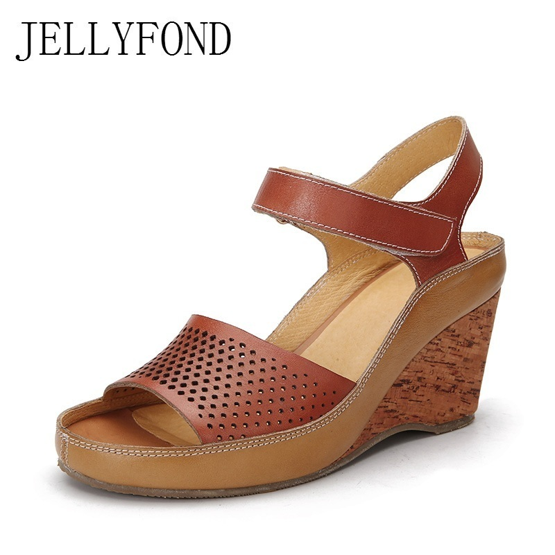 JELLYFOND Ankle Strap Gladiator Sandals Women Real Leather Open Toe High Heels Summer Shoes 2018 Vintage Platform Wedge Sandals цены