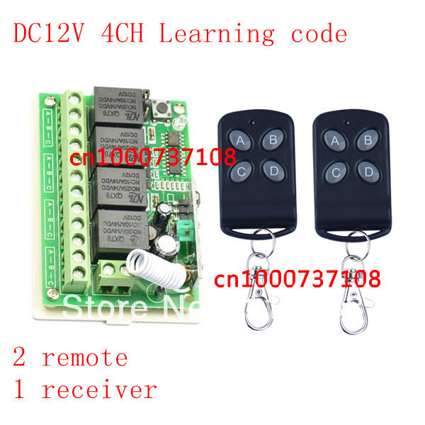 Wireless Remote Control Switch System 4CH 4Relay DC12V Receiver&Transmitter 315/433MHZ remote light switch for home automation hot new 2 ch ir relay receiver wireless remote control switch light add 5v 2a ac dc eu plug adapter 5 5mm for home automation