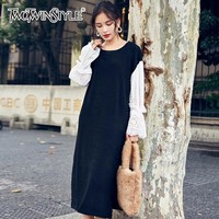 TWOTWINSTYLE Lace Knitting Dress Hollow Out Flare Sleeve Patchwork Split O Neck Mid Calf Length Dresses Female Spring Sweet