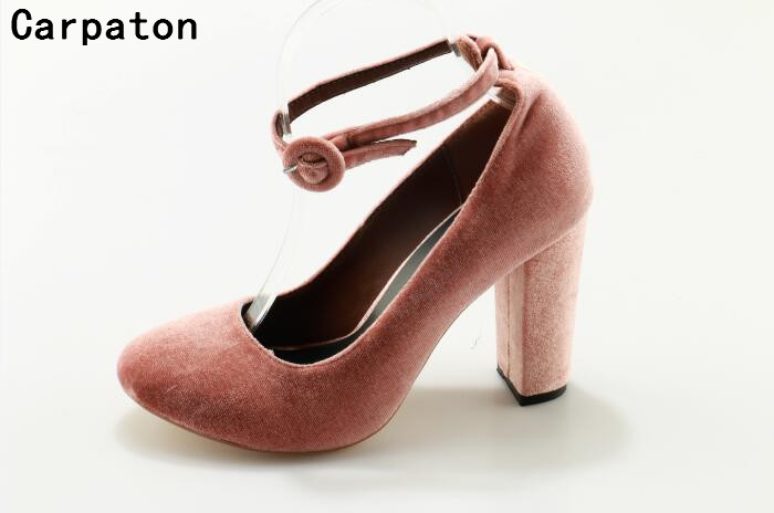Carpaton concise style round toe high heel ankle strap women high thick shoes pink suede sexy pumps cusual shoes new stilettos qiu dong in fashionable boots sexy and comfortable women s shoes the new national style high heel heel thick heel