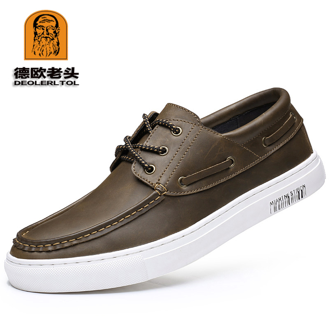 c31796e356c New Arraival Men s Genuine Leather Casual Shoes Size 44 Head Leather Soft  Man Loafer Shoes Autumn Leisure Leather Loafers