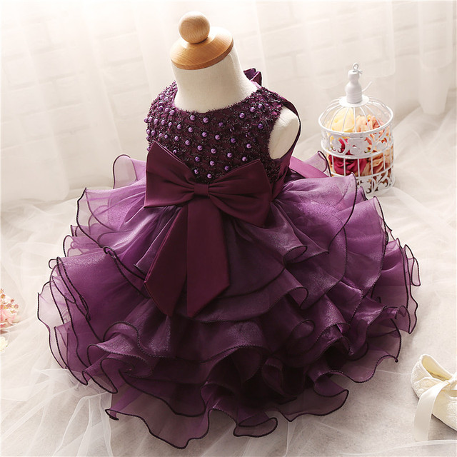 d2ee481094bf 1 Year Birthday Outfit Dress For Girl Party Wear Baby Girl Wedding Purple  Dress Newborn Christening