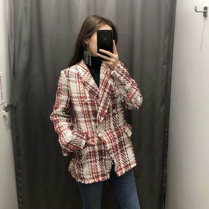 Vintage Tweed Women's Jacket Blazer Double Breasted Diamonds Women's Suit Coat Long Sleeve Plaid Blazer Women Casaco Feminino